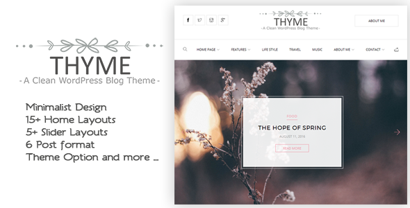 Thyme – A Responsive WordPress Blog Theme