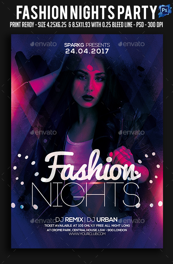 Fashion Nights Party Flyer - Clubs & Parties Events