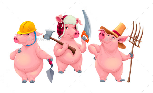 Three Little Pigs - Animals Characters