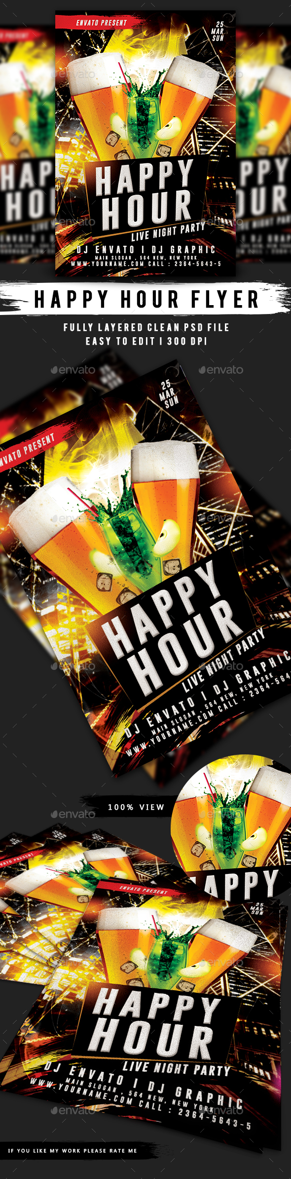 Happy Hour Flyer Template - Events Flyers