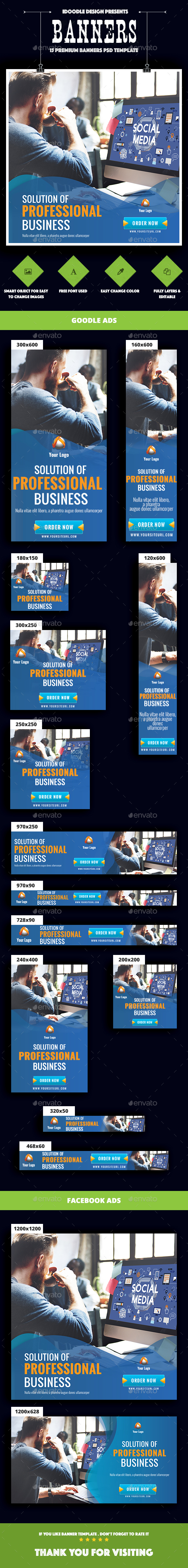 Multipurpose, Business, Corporate Banner Ads - Banners & Ads Web Elements