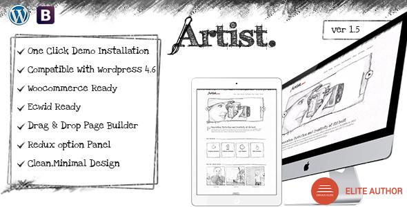 Artist Wordpress Theme - Painter Exhibition Sketch Handcraft Writer Art Pencil Design ShowCase - Creative WordPress