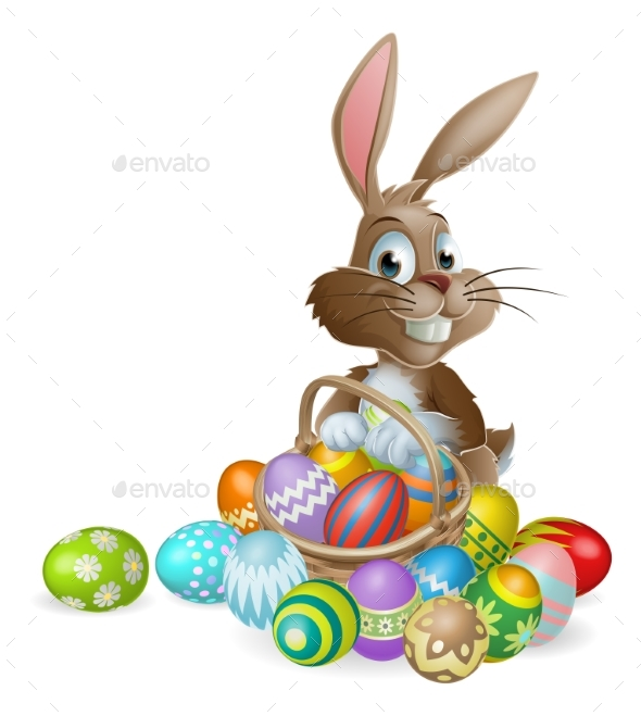 Easter Bunny Rabbit with Easter Eggs Basket - Miscellaneous Seasons/Holidays