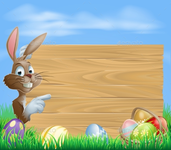 Easter Bunny and Eggs with Wooden Sign - Backgrounds Decorative