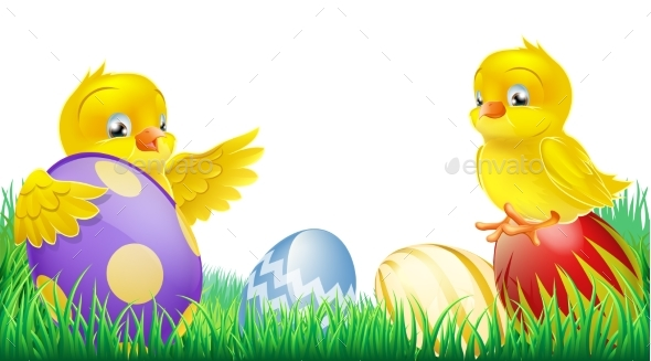 Yellow Chicks and Easter Eggs - Animals Characters