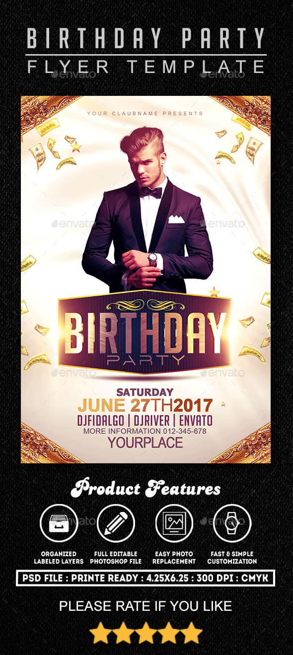 Birthday Party Flyer Template 1 - Clubs & Parties Events