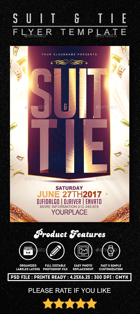 Suit & Tie Flyer Template - Clubs & Parties Events