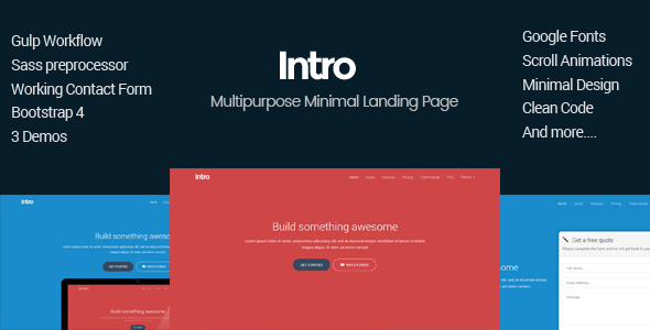 Intro - Minimal Multipurpose Bootstrap4 Landing Page by design_mylife