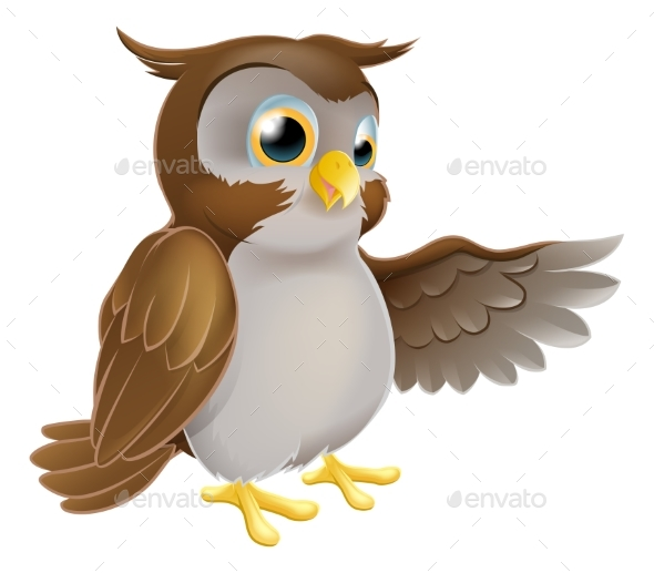 Pointing Cartoon Owl - Animals Characters