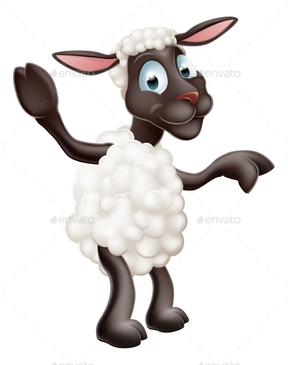 Sheep Waving and Pointing - Animals Characters