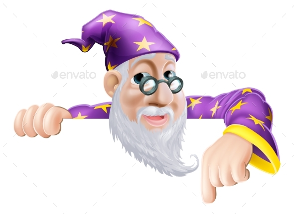 Wizard Pointing Down - People Characters