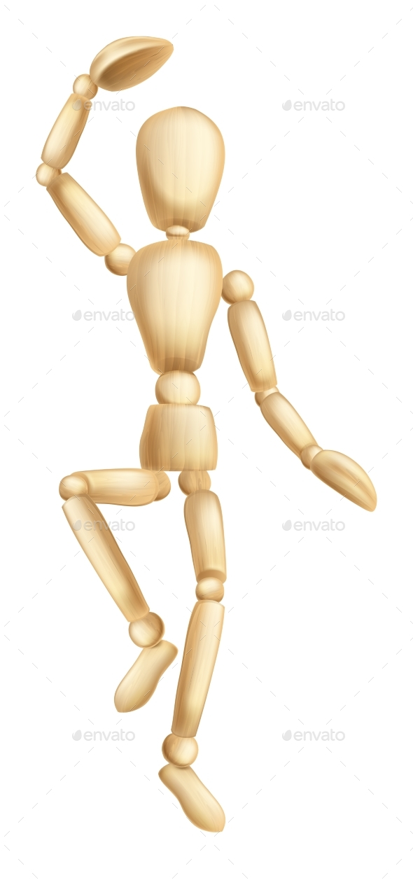 Wooden Man Dancing - People Characters