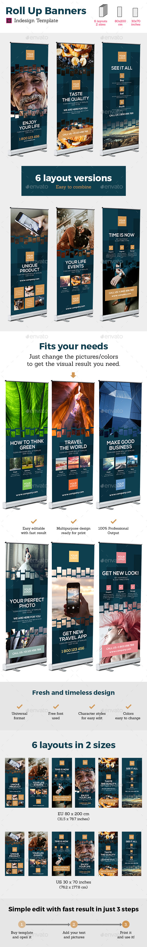 Rollup Stand Banner Display Digital Dark 12x Indesign Template - Signage Print Templates