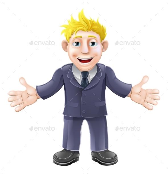 Blonde Businessman Cartoon - People Characters