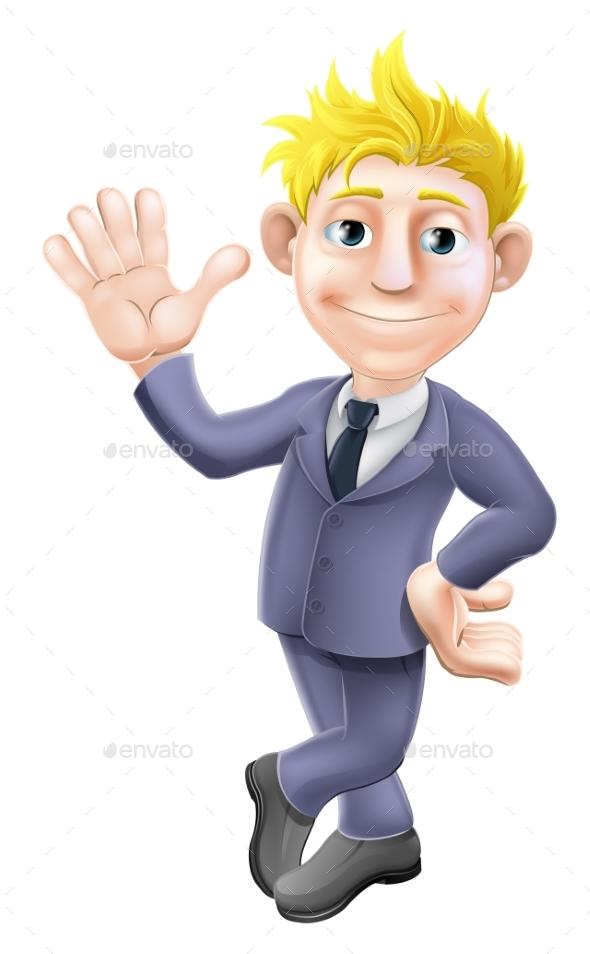 Man in Suit Waving Cartoon - People Characters