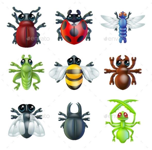 Insect Bug Icons - Animals Characters