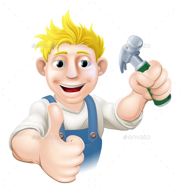 Cartoon Carpenter or Construction Guy - People Characters