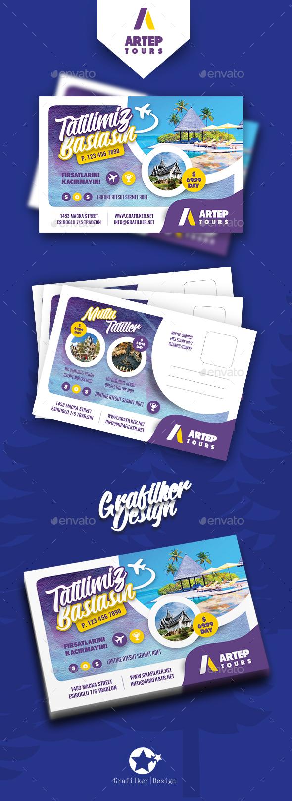 Travel Tour Postcard Templates - Cards & Invites Print Templates