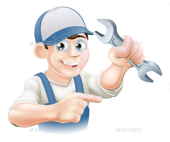 Plumber or Mechanic Pointing - People Characters