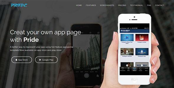 PRIDE – Responsive App Landing Page