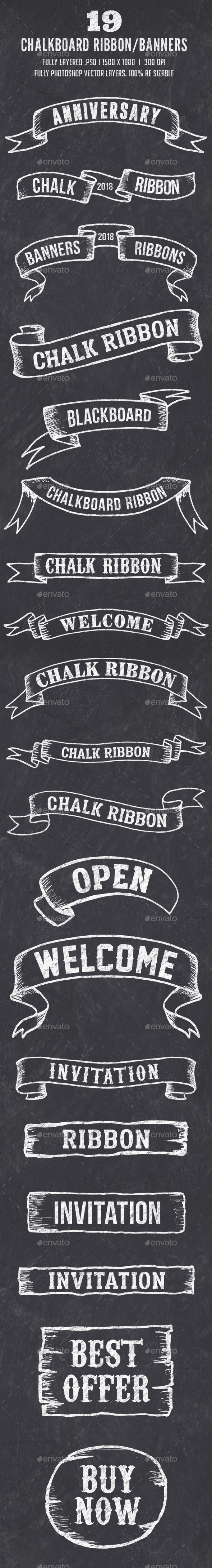 19 Chalk Ribbon Banners / Banner Set - Badges & Stickers Web Elements