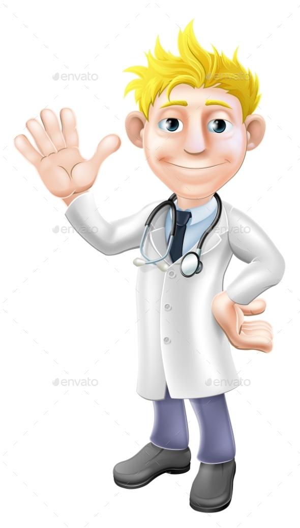 Cartoon Doctor Waving - Health/Medicine Conceptual