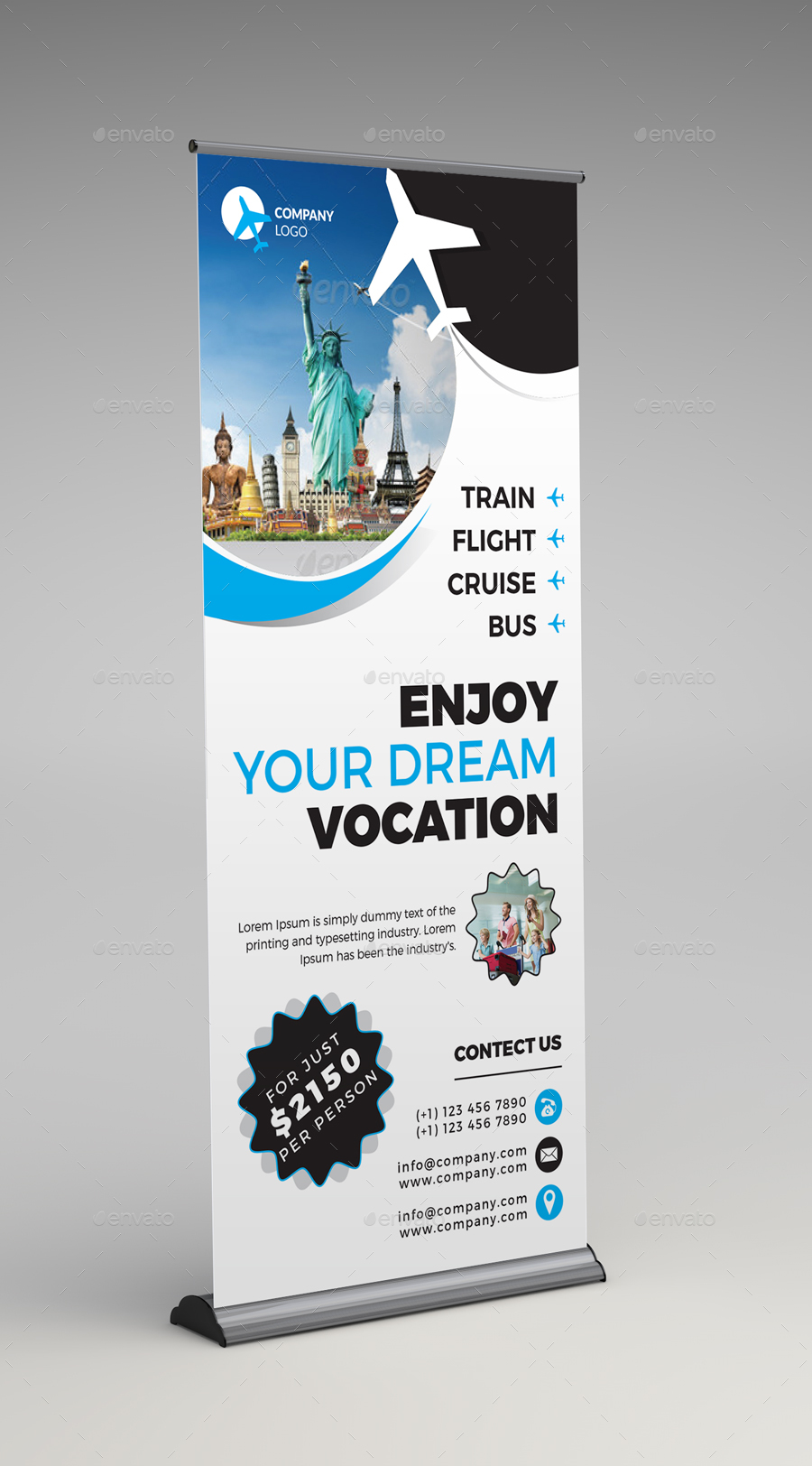 Travel Agency Roll Up Banner By Arsalanhanif Graphicriver