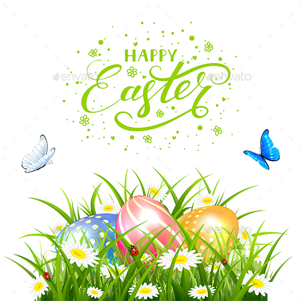 Easter Eggs in Grass with Butterflies on White Background - Miscellaneous Seasons/Holidays