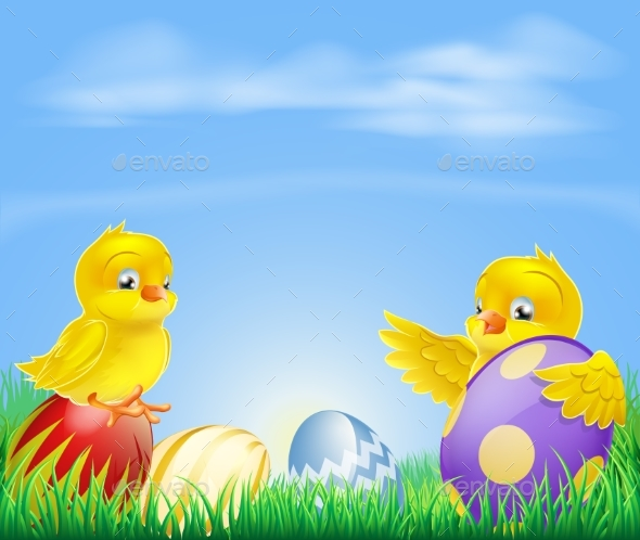 Chickens and Easter Eggs Background - Animals Characters