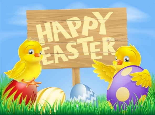 Easter Birds and Eggs with Sign - Animals Characters