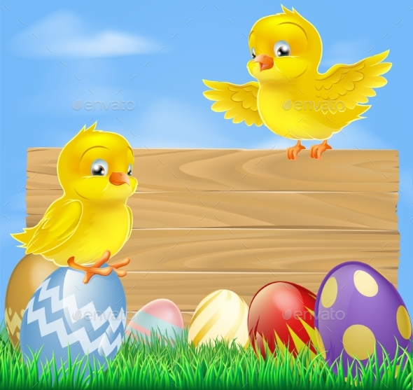 Easter Chicks and Wooden Sign - Animals Characters