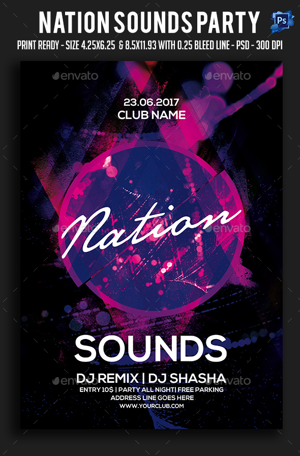 Nation Sounds Party Flyer - Clubs & Parties Events