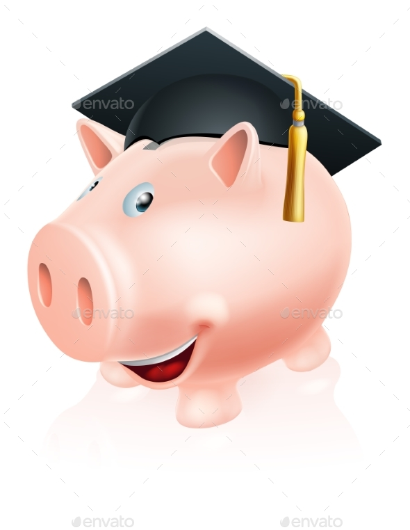 Education Savings Piggy Bank - Miscellaneous Vectors
