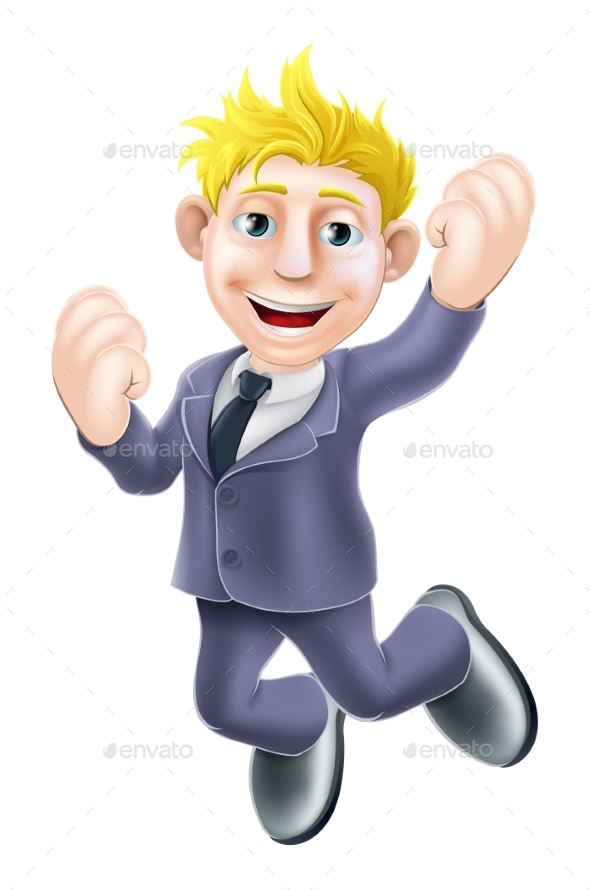 Happy Businessman Jumping - People Characters