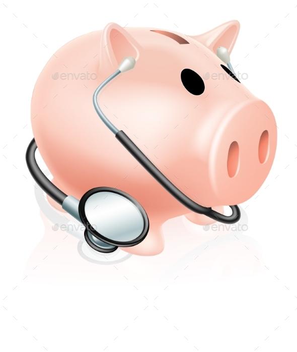 Stethoscope Piggy Bank - Health/Medicine Conceptual
