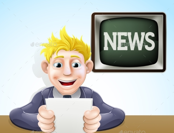 News Reader Cartoon - Media Technology