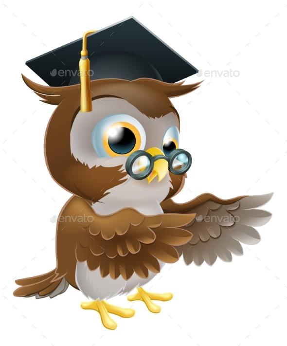 Teacher Owl Pointing - Miscellaneous Vectors