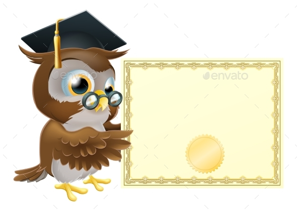 Owl Diploma Certificate Background - Miscellaneous Vectors