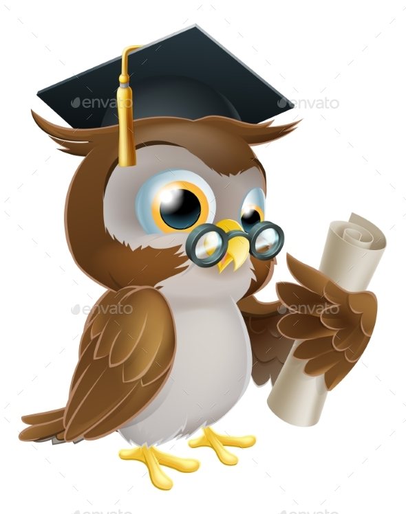 Owl with Degree or Qualification - Animals Characters