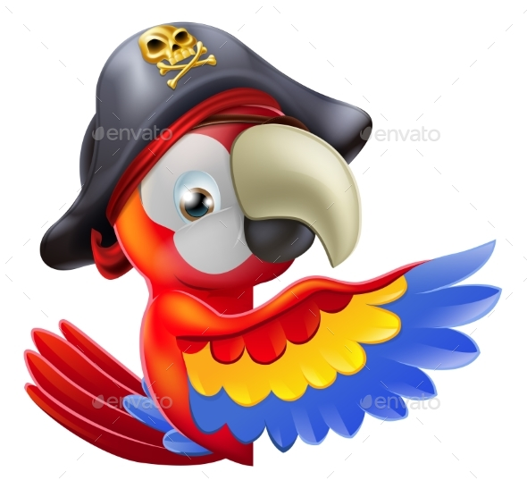 Parrot Pirate Pointing - Animals Characters
