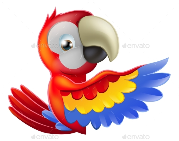 Red Pointing Cartoon Parrot - Animals Characters