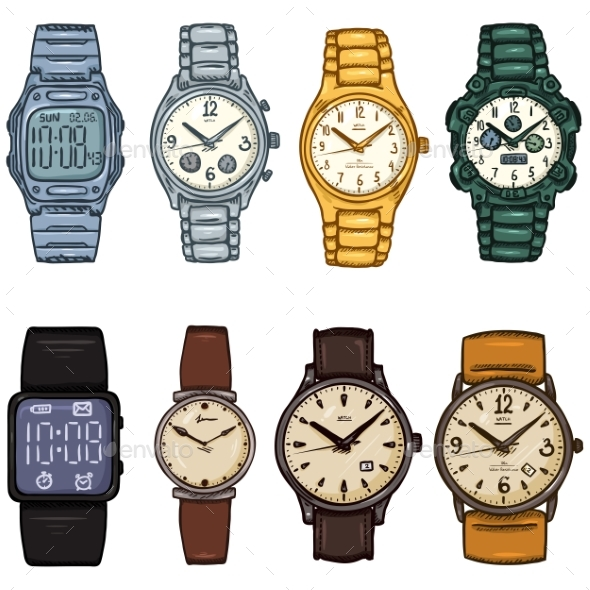 Set of Cartoon Color Wrist Watches - Man-made Objects Objects