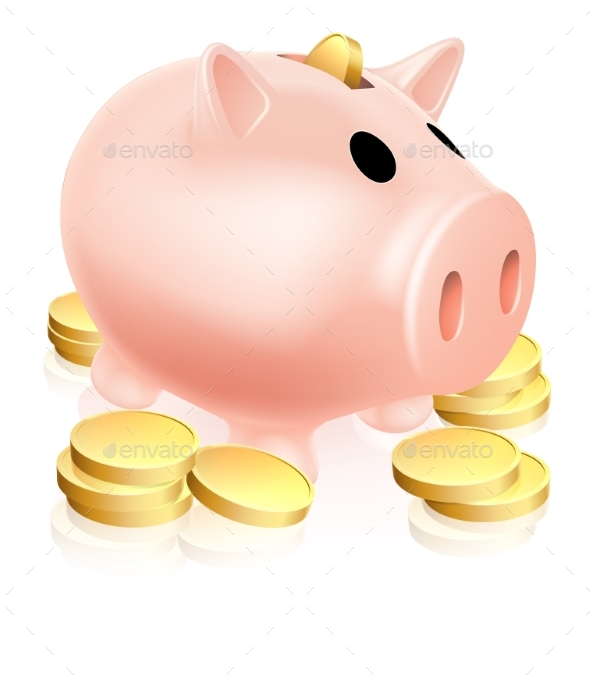 Piggy Bank and Gold Coins - Concepts Business
