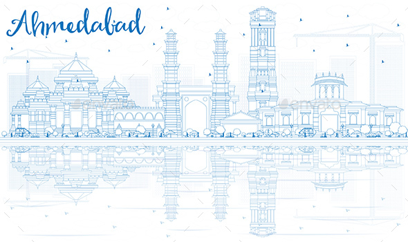 Outline Ahmedabad Skyline with Blue Buildings and Reflections - Buildings Objects