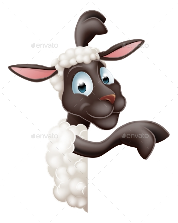 Sheep Pointing Round Sign - Animals Characters