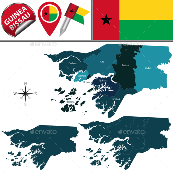 Map of Guinea Bissau with Named Regions - Travel Conceptual