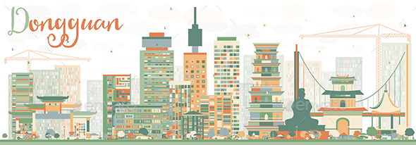 Abstract Dongguan Skyline with Color Buildings - Buildings Objects