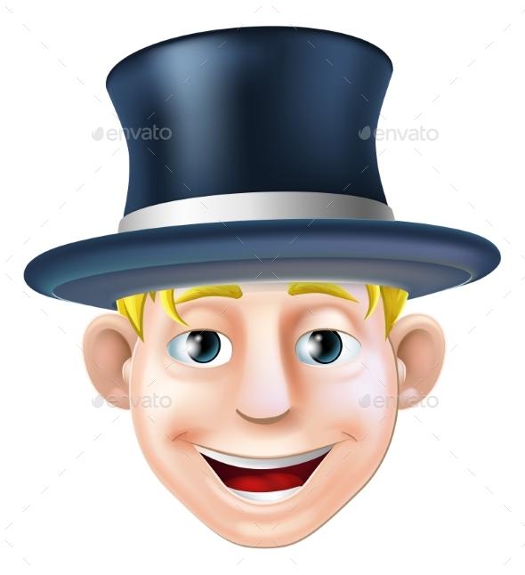 Man in Top Hat Cartoon - People Characters