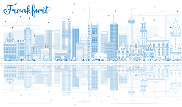 Outline Frankfurt Skyline with Blue Buildings and Reflections - Buildings Objects
