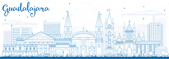 Outline Guadalajara Skyline with Blue Buildings - Buildings Objects